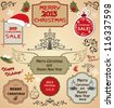 Christmas labels, decorative elements, borders, frames and tree - stock vector