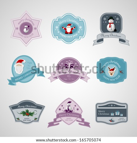 Christmas Labels Set - Isolated On Background - Vector Illustration, Graphic Design Editable For Your Design - stock vector