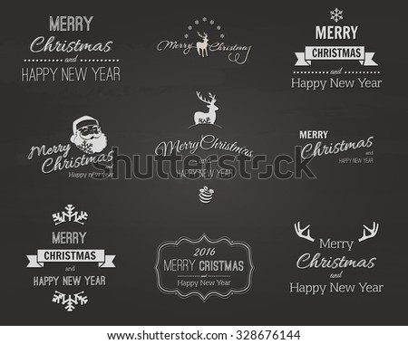 Christmas Labels set. Vector Illustration - stock vector