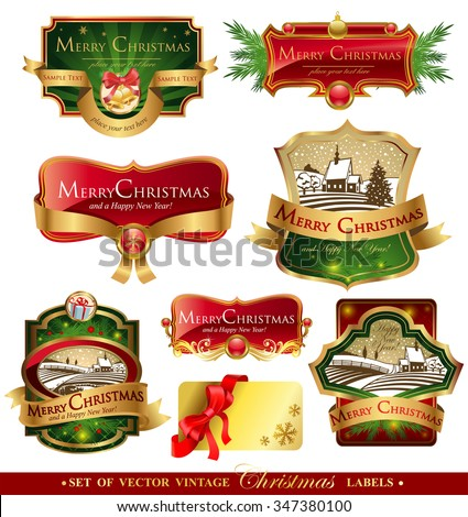 Christmas labels with lovely winter landscape for greeting cards, banners, presentations, decorations. Easy to edit all pieces are separated.  - stock vector