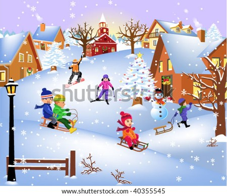 christmas landscape - stock vector