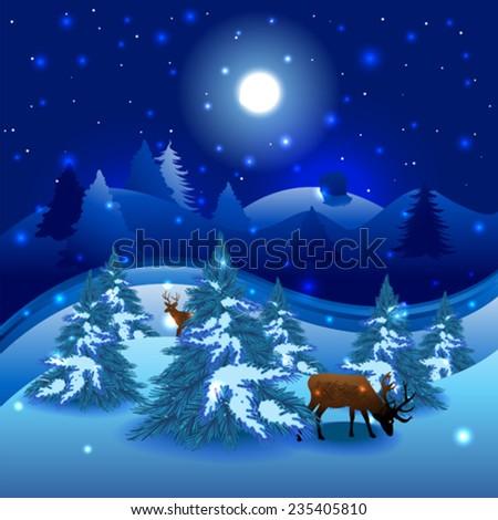 Christmas landscape background - stock vector