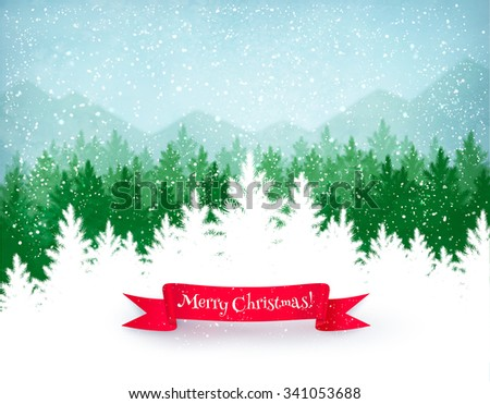 Christmas landscape background with falling snow, green spruce forest silhouette, mountains, and red ribbon banner.  - stock vector
