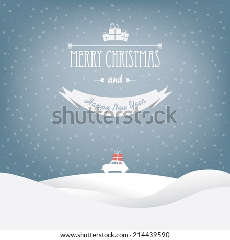 Christmas landscape card design with small car. Eps10 vector illustration. - stock vector