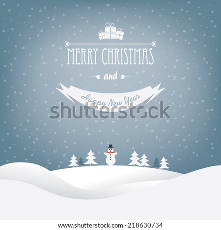 Christmas landscape card design with trees and a snowman. Eps10 vector illustration. - stock vector