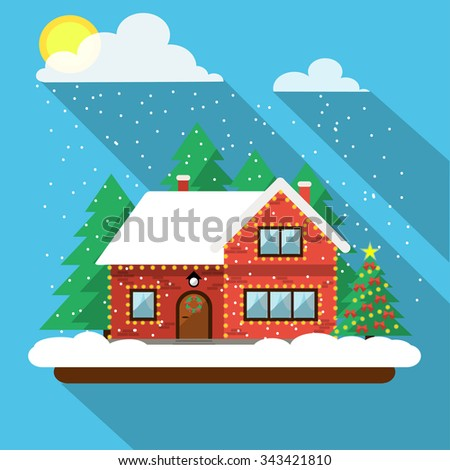 Christmas landscape. In the sky, sun and clouds, snow. Home and Christmas tree decorated with lights. Stosk flat vector illustration. - stock vector