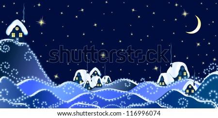 Christmas Landscape of winter night in village - stock vector