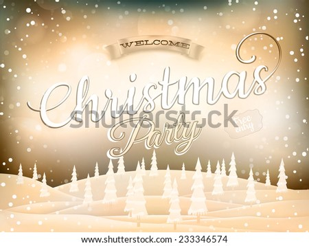 Christmas landscape Poster. EPS 10 vector file included - stock vector