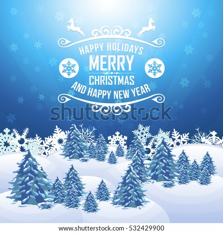Christmas Landscape, Winter Background Design, Snowflakes, Hills, Pine Tree and Snow Illustration, Greeting Card Template