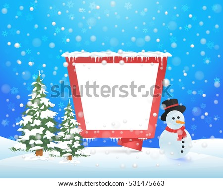 Christmas Landscape, Winter Background Design, Snowflakes Hills, Snowman, Origami Banner, Pine Tree and Snow Illustration
