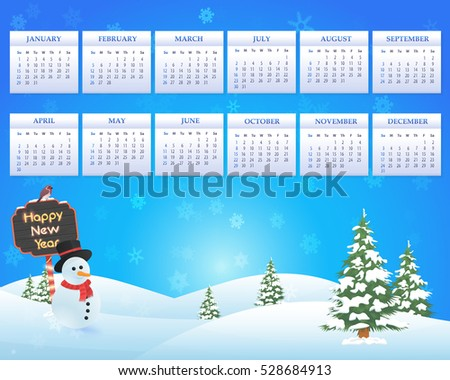 Christmas Landscape, Winter Background, Snowflakes Hills and Snow Illustration 2017 Full Calendar Template, Promotion Poster Vector Design - Week Starts Sunday