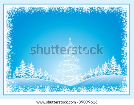 Christmas landscape with fir tree in frame
