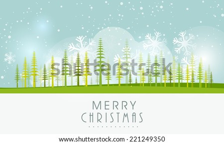Christmas landscape with holly trees and snowflakes.  - stock vector