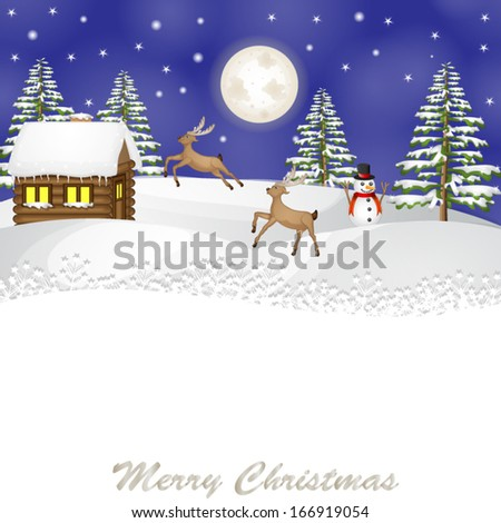 Christmas landscape with reindeer