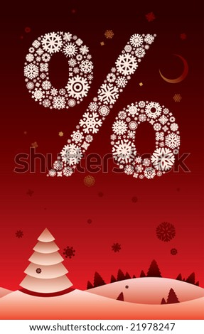 Christmas landscape with snowflake percent. - stock vector