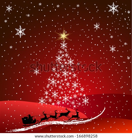 Christmas landscape with the moon.Santa Claus in a sleigh in flight - stock vector