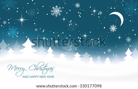 Christmas landscape with trees, moon and snowflakes/vector illustration - stock vector