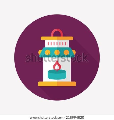 Christmas lantern flat icon with long shadow,eps10 - stock vector