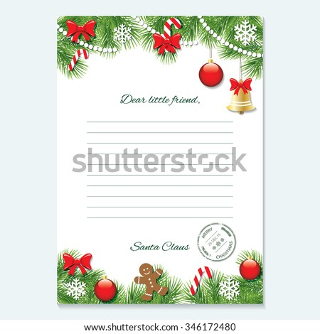 Christmas letter from Santa Claus template. - stock vector