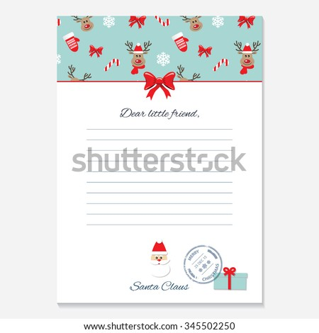 christmas letter santa claus template pattern stock vector 345502250