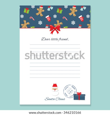 Christmas letter santa claus template pattern stock vector 346210166 christmas letter from santa claus template pattern with gingerbread men and mittens added in swatches spiritdancerdesigns Images