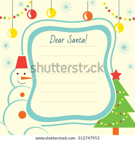 Christmas Letter Template Santa Claus Print Stock Photo (Photo ...