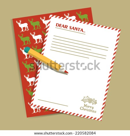 Christmas letter to Santa Claus. Vector illustration. - stock vector
