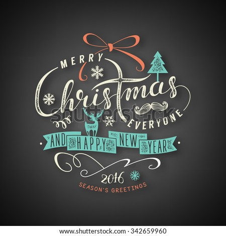 Christmas lettering illustration - stock vector