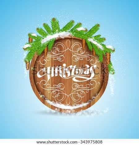 Christmas lettering on round wood border with snowy fir tree branch and cones on blue background  - stock vector