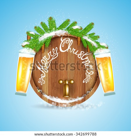 Christmas lettering on wood barrel with snowy fir tree branch and beer of glass on blue background  - stock vector