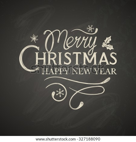 Christmas lettering with decorative elements on black board - stock vector