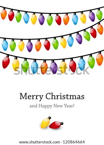 Christmas light bulbs background with place for text - stock vector