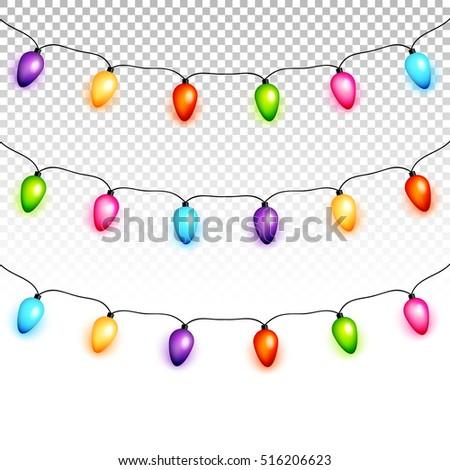 Christmas Light Bulbs Garlands On Transparent Stock Vector 516206623 Rh Shutterstock Com Simple Lights Clip