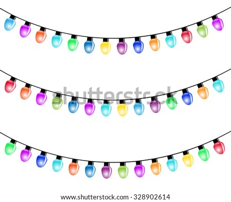Strings Holiday Lights On White Background Stock Vector 129828296 ...