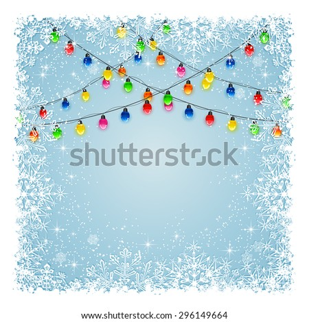 Christmas light bulbs on blue background with frame from snowflakes and stars, illustration. - stock vector