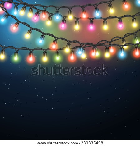 christmas light garland on night background illustration for christmas and new year promotions sales - Christmas Light Sales