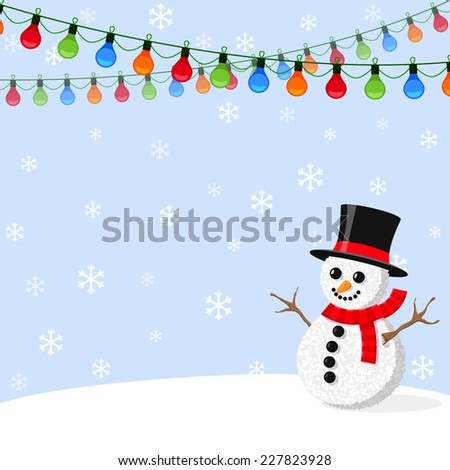 Christmas light garlands and snowman - stock vector