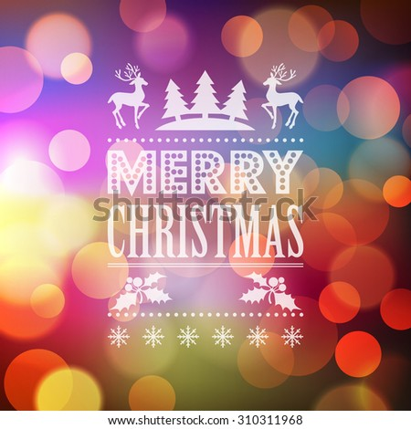 Christmas light vector background.  Typographic poster. - stock vector