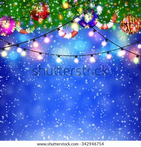 Christmas Lights and fir twigs background . concept for greeting or postal card. vector illustration - stock vector