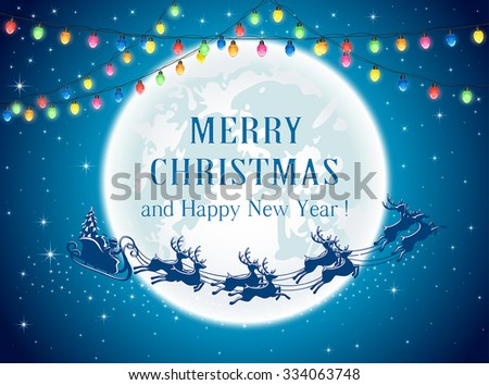 Christmas lights and Santa on sky background, illustration. - stock vector