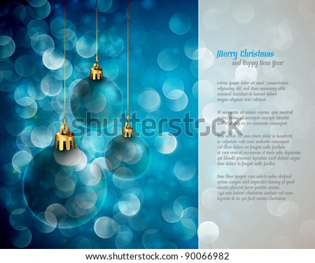Christmas Lights and Spheres | Greeting for Poems | Layered EPS10 Background - stock vector