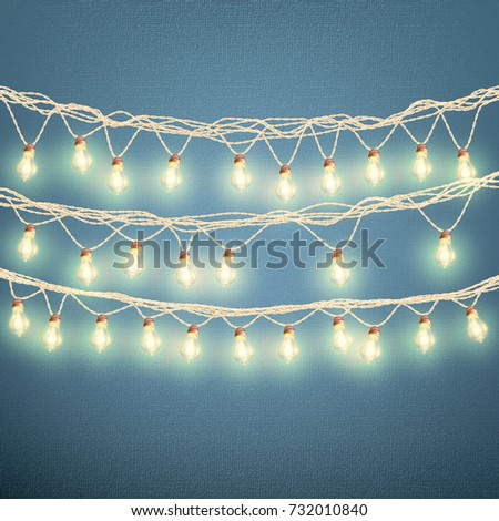 Christmas Lights Concept Holiday Card Template Stock Vector