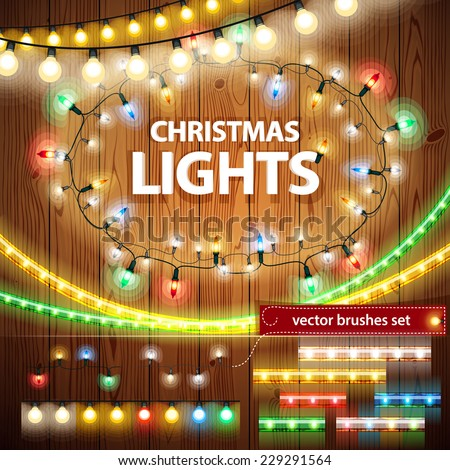 Christmas Lights Decorations Set for Celebratory Design. Used pattern brushes included. - stock vector