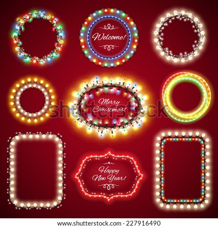 Christmas Lights Frames with a Copy Space Set1 for Celebratory Design. Used pattern brushes included. - stock vector