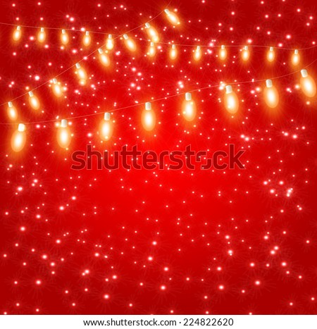 christmas lights garlands sparkle light bulb on a red background