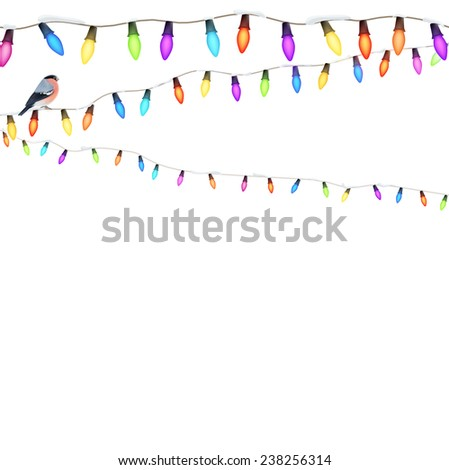 Christmas lights isolated on white background. EPS 10 vector file included - stock vector