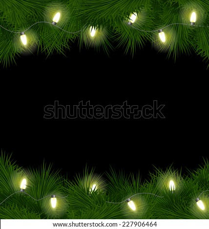 Christmas lights on pine branches isolated on black background - stock vector