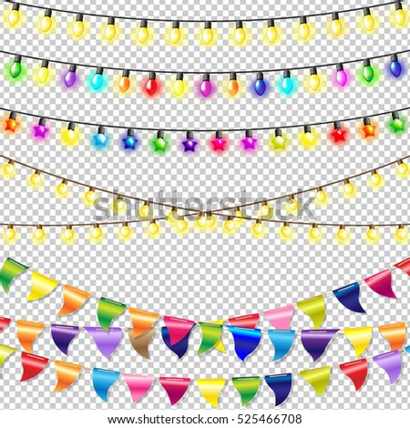 Christmas Lights Set, With Gradient Mesh, Vector Illustration