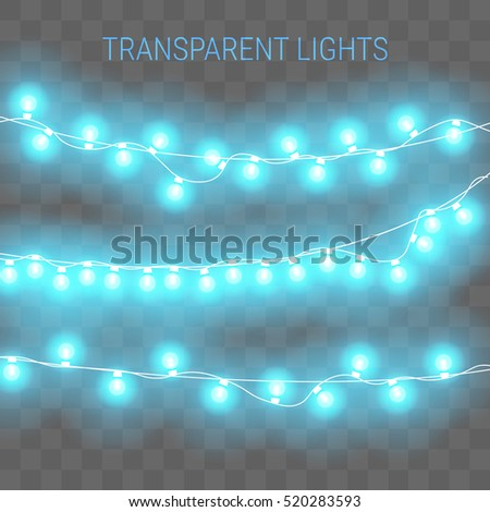 Christmas Lights Transparent Glowing Garland Blue Stock Vector ...