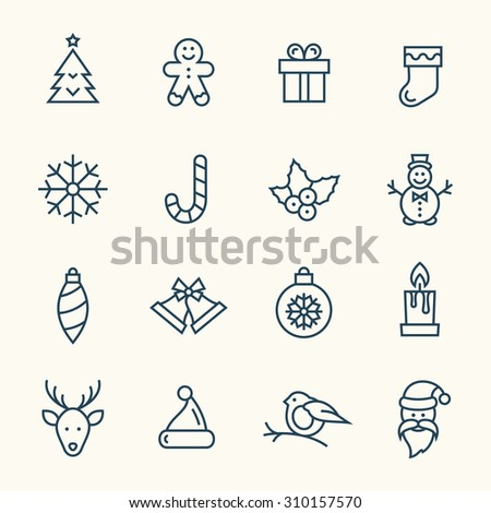 Christmas line icons - stock vector